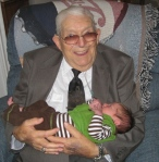 Great Papa Howard meets little Emory Howard a week after he was born.